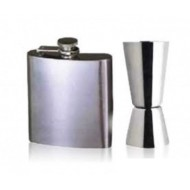 HIP Flask + Peg Measurer 30 / 60 ML Measure - Stainless Steel Stylish