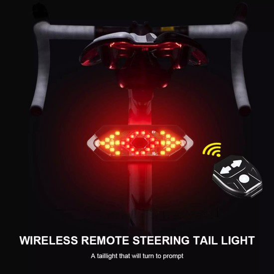 Bicycle Wireless Indicator Left Right Turn Signal Tail Light with Horn FY1820 LED Rear Break Light  (Black)