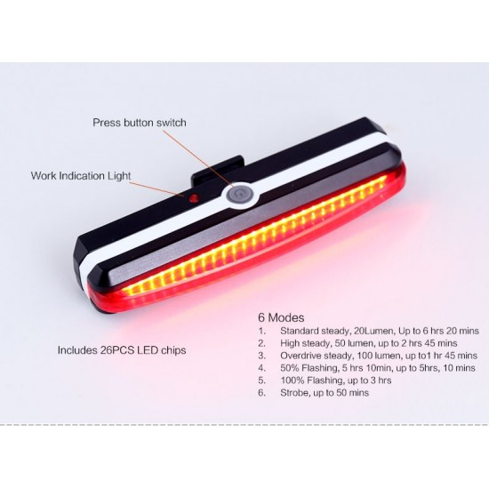 Bike Bicycle USB Rechargeable COB Tail Light 6 modes Water Resistant LED Rear Break Light