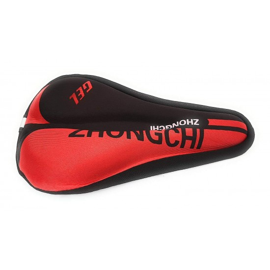 Seat Cover Bicycle Silicone Saddle Seat Cycling Cushion Pad Bicycle Gel Cover Saddle Cover M  (Red & Black)