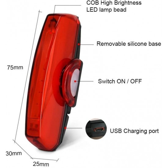 Cycle Break Light Bicycle USB Rechargeable 6 Mode Red Night Tail Light LED Rear Break Light  (Red)