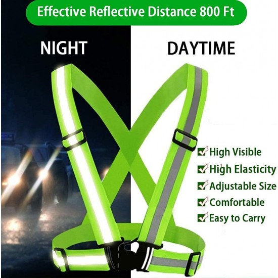 Reflective Jacket Strap High Visibility Cross Belt with Adjustable Elastic Straps Ideal for Cycling (Green)