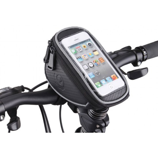 Cycle Handle Bar Pouch for Smartphones/Cellphone Mobiles Bicycle Accessories w Reflective Strip for Night Riding