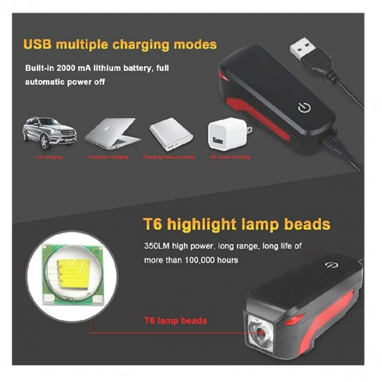 Bike Bicycle Horn Front LED Light USB Rechargeable Waterproof Bell