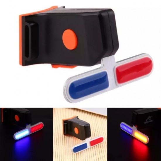 Bike Bicycle LED Tail Light 4 Mode Police Red Blue Rechargeable Break Light