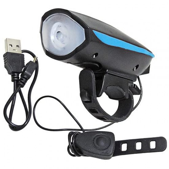 USB Rechargeable Bicycle Horn Waterproof 3 Mode LED Front Light