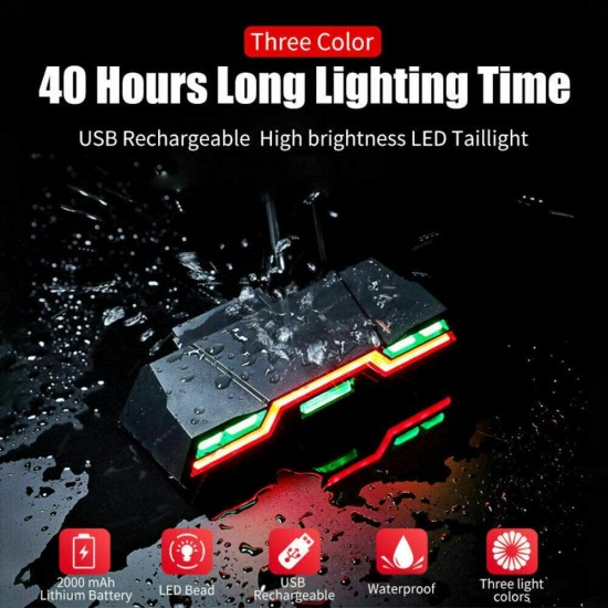 Cycle Light Tail 46 LED 3 Colour USB Rechargeable 6 Modes Waterproof Bicycle Light LED Rear Break Light  (Black)