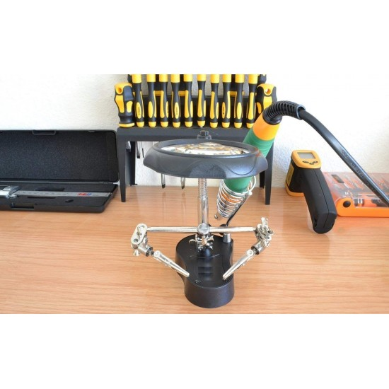 Magnifier Tool 3. 5X / 12X Helping Hand Magnifier Magnifying with Soldering Stand & LED Light