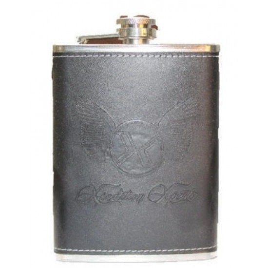 Black Leatherite Stainless Steel Pocket Hip Flask Whisky Vodka 236ml