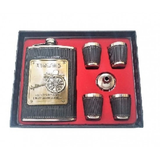 Black Leatherite Black Hip Flask + 4 Shot Glasses + Funnel Bar Set