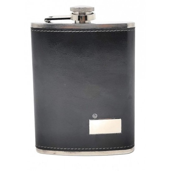 Stainless Steel Black Leatherite with Rectangle Print Plate Hip Flask 236ml