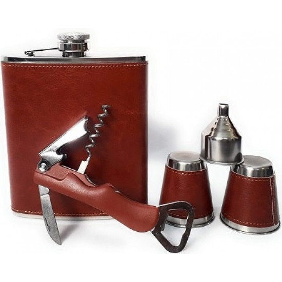 Brown Leather Hip Flask + 2 Cups + 1 Multifunctional Knife + 1 Funnel Chess Bar Set