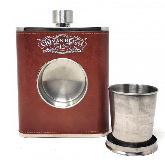 Brown Leatherite Hip Flask With 1 Folding Glass Wine Whiskey Alcohol Drinks 532ml