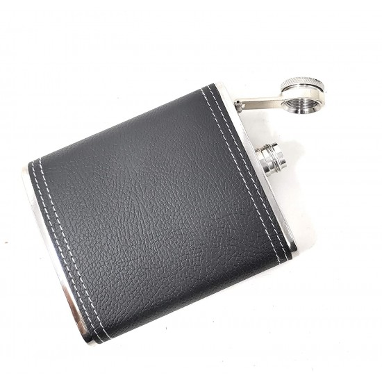 Leather Wrapped Stainless Steel Hip Flask Alcoholic Drinks Holder 236ml (With Funnel)