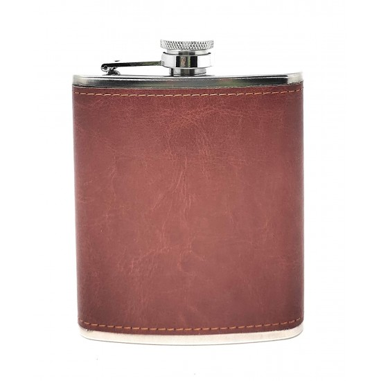 Brown Leather Wrapped Stainless Steel Hip Flask Alcoholic Drinks Holder 207ml