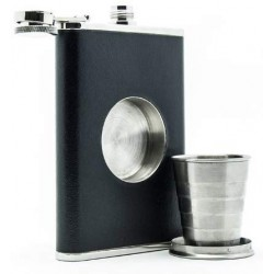 Stainless Steel Folding Glass Black Hip Flask