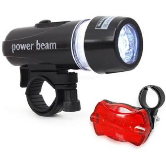 Bike Bicycle Headlight Power Beam and Red Tail LED Front Rear Light Combo