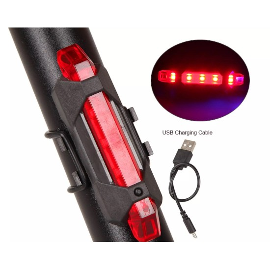 Cycle Tail Light 3 pcs USB Rechargeable Rear Break Light LED (Combo) LED Rear Break Light  (Red, White, Blue)