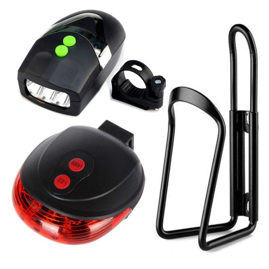 Bicycle Front Light & Horn, Cycle Tail Light & Aluminum Bottle Holder Stand Combo