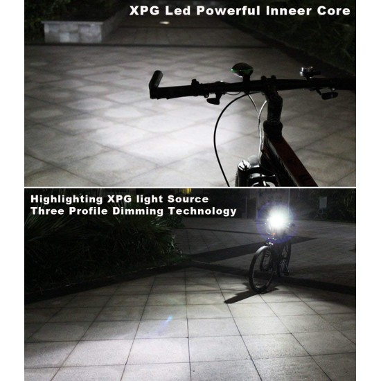Cycle Front Light & Horn USB Rechargeable, 2 Eye Red Tail Light (Combo) LED Front Rear Light Combo  (Black)