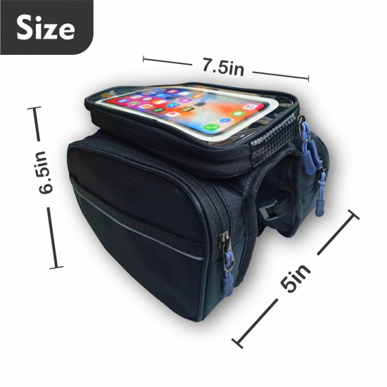 Bicycle Double Sided Front Frame Handlebar Bag – Water Resistant Mobile Pouch for Cycle for up to 7 inch Phones (Pack of 1) Black
