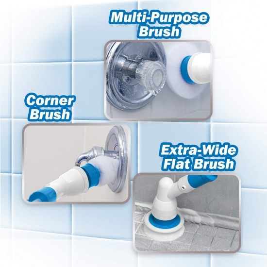 Electric Spin Scrubber with Adjustable Extension Arm and 3 Replaceable Bathroom Scrubber Cleaning Brush Heads for Tub, Tile, Floor