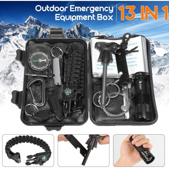 13-1 Survival kit Set Outdoor Camping Travel Multi function First aid SOS EDC Emergency Survival Kit