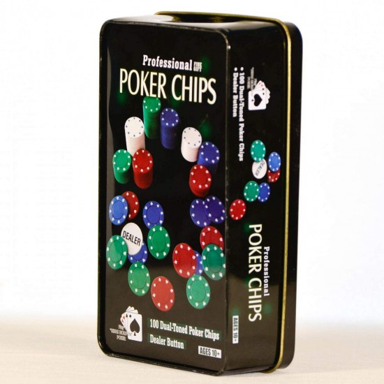 Poker Game 100pcs Chips and Tin Storage Box Set with Dealer Button