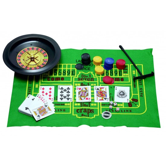 Playing Cards Roulette Poker Chips 5 IN 1 Casino Chips Game Set Party Games