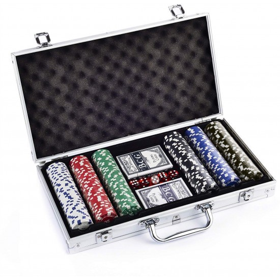 Protos 300 Pcs Poker Chips Hard Casino Style + 2 Playing Cards 5 Dices in Aluminium Box Diwali Special
