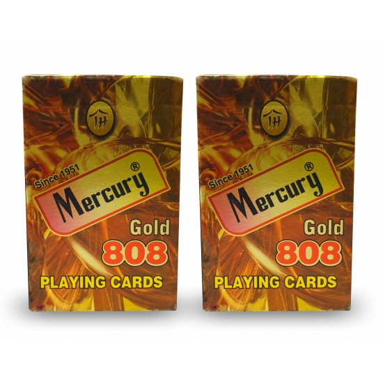 Playing Cards Plastic Coated ( 2 sets) Mercury Gold 808 Casino Bridge Cardistry Club Cards