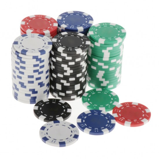 100 Pcs 5 Colour Poker Chips Loose in Box
