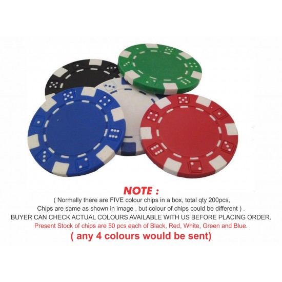 200 Pcs 5 Colour Poker Chips Loose in Box