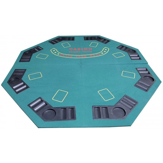 8 Player Poker Table Top Octagon Green Folding Big Table With Carry Bag