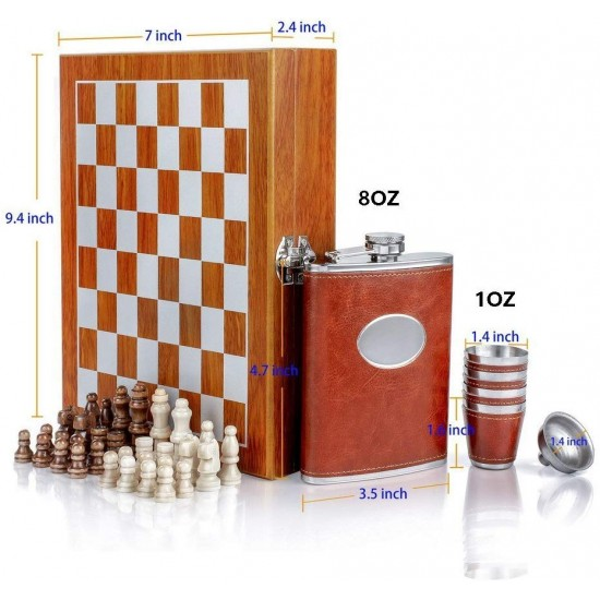 Hip Flask and Chess Set Stainless Steel Wooden Chess Gift Box Brown Hip Flask Taquilla Glasses Funnel Bar Set