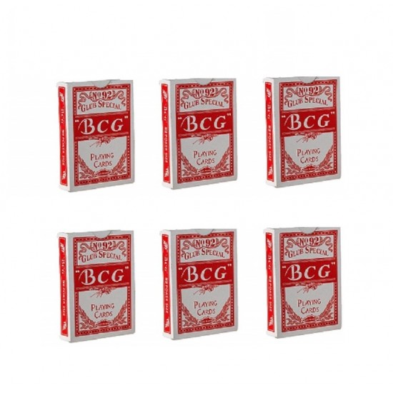 6 Packs Of BCG No.92 Club Special Poker Playing Red Cards