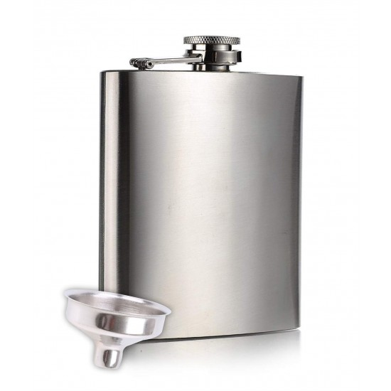 Hip Flask 7Oz Stainless Steel for Drinks and Beverages - 207ml (With Funnel)