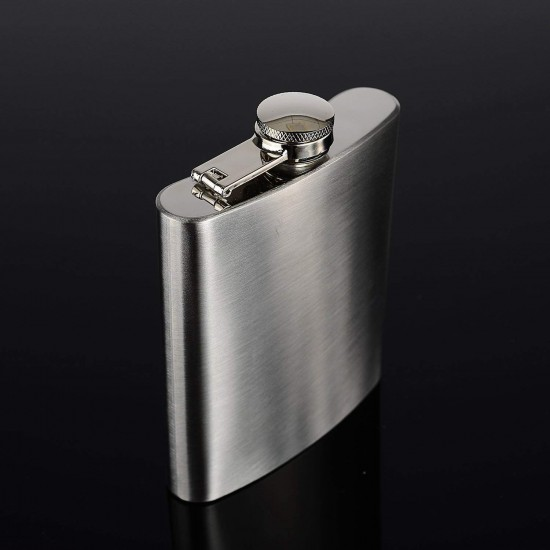Hip Flask 8Oz Stainless Steel Liquor Flask Alcoholic Beverages Wine Whiskey Vodka 236ml (With Funnel)