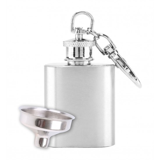Mini Hip Flask Stainless Steel Silver Pocket Keychain Drinks Wine Whiskey 30 ml (With Funnel)