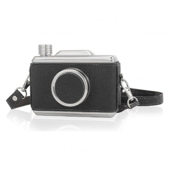 Stainless Steel Cool Retro Vintage Black Camera Design Hip Flask 325ml (With Funnel)