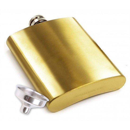 Golden Smooth Stainless Steel Hip Flask 207 ml (With Funnel)