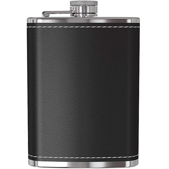 Stainless Steel Stitched Black Leather Whisky Vodka Hip Flask 207 ml (With Funnel)