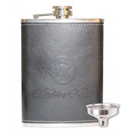 Black Leather Stainless Steel Pocket Hip Flask Whisky Vodka 236ml (With Funnel)