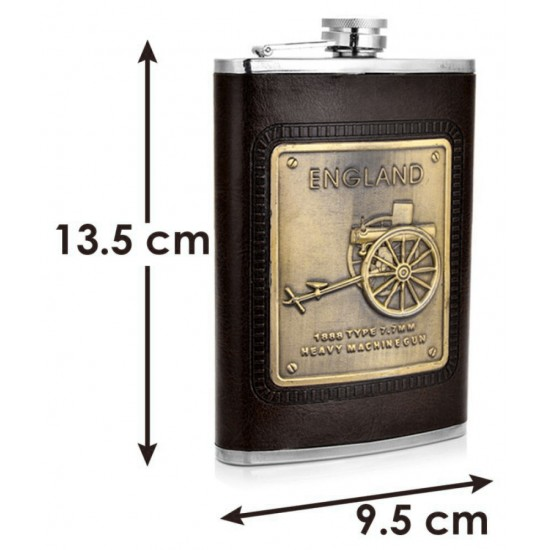 Stainless Steel Stitched Black Leather England Vodka Whisky Hip Flask 230ml (With Funnel)