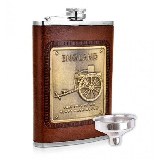 England Stainless Steel Stitched Leather Hip Flask Drinks Vodka Whiskey 230 ml (With Funnel)