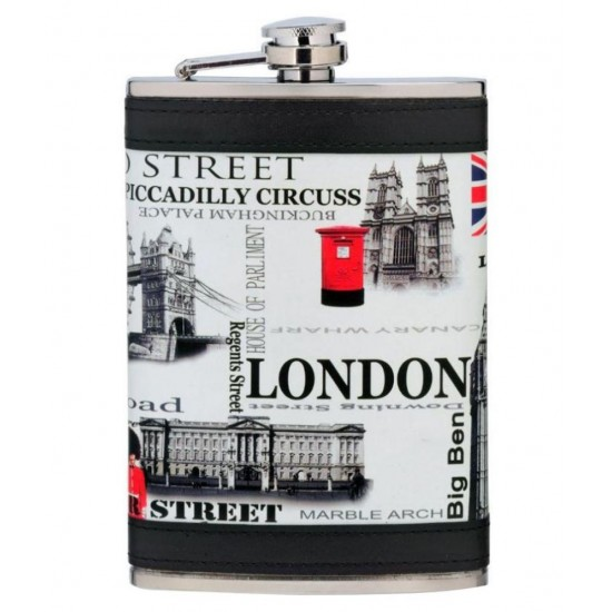 London Street Wine Holder White Stitched Leather and Stainless Steel Hip Flask 266ml with 1 Funnel + 4 Cups