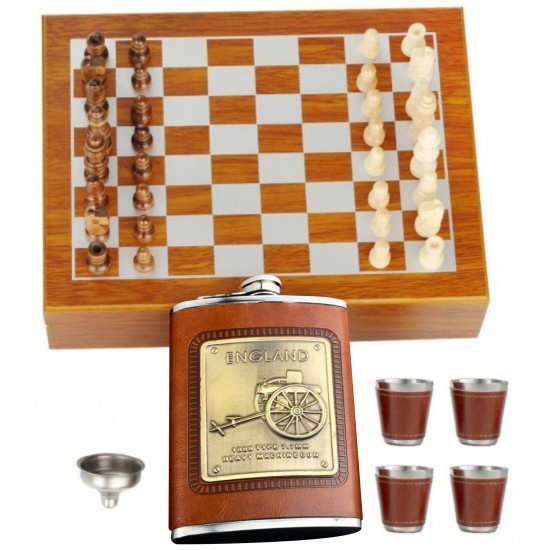 Leather England Hip Flask 236ml + 4 Cups + 1 Funnel Brown Box Chess Bar Set