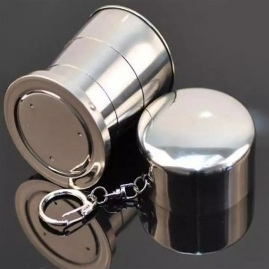 Stainless Steel Portable Foldable Pocket Water Wine Drinking Cup Shot Glass 140ml