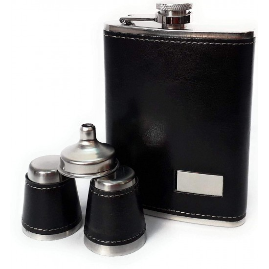 Black Leatherite Stainless Steel 2 Cup & 1 Funnel with Rectangle Print Plate Set