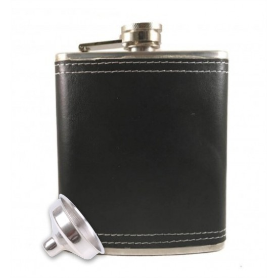 Protos Hip Flask BLACK Leatherette Stainless Steel for Drinks and Beverages - 200ml (With Funnel)